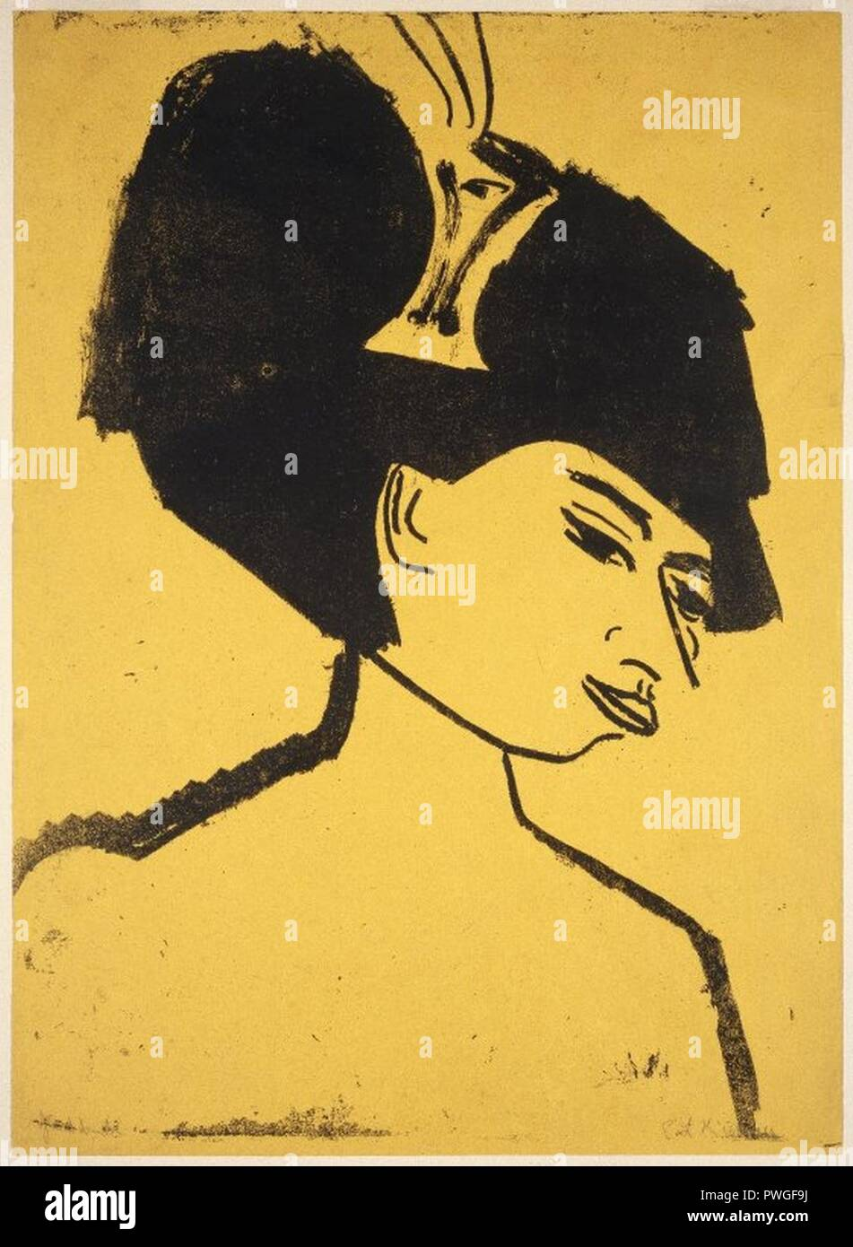 Milliner with Hat (Modistin mit Hut) - Ernst Ludwig Kirchner. - Stock Image
