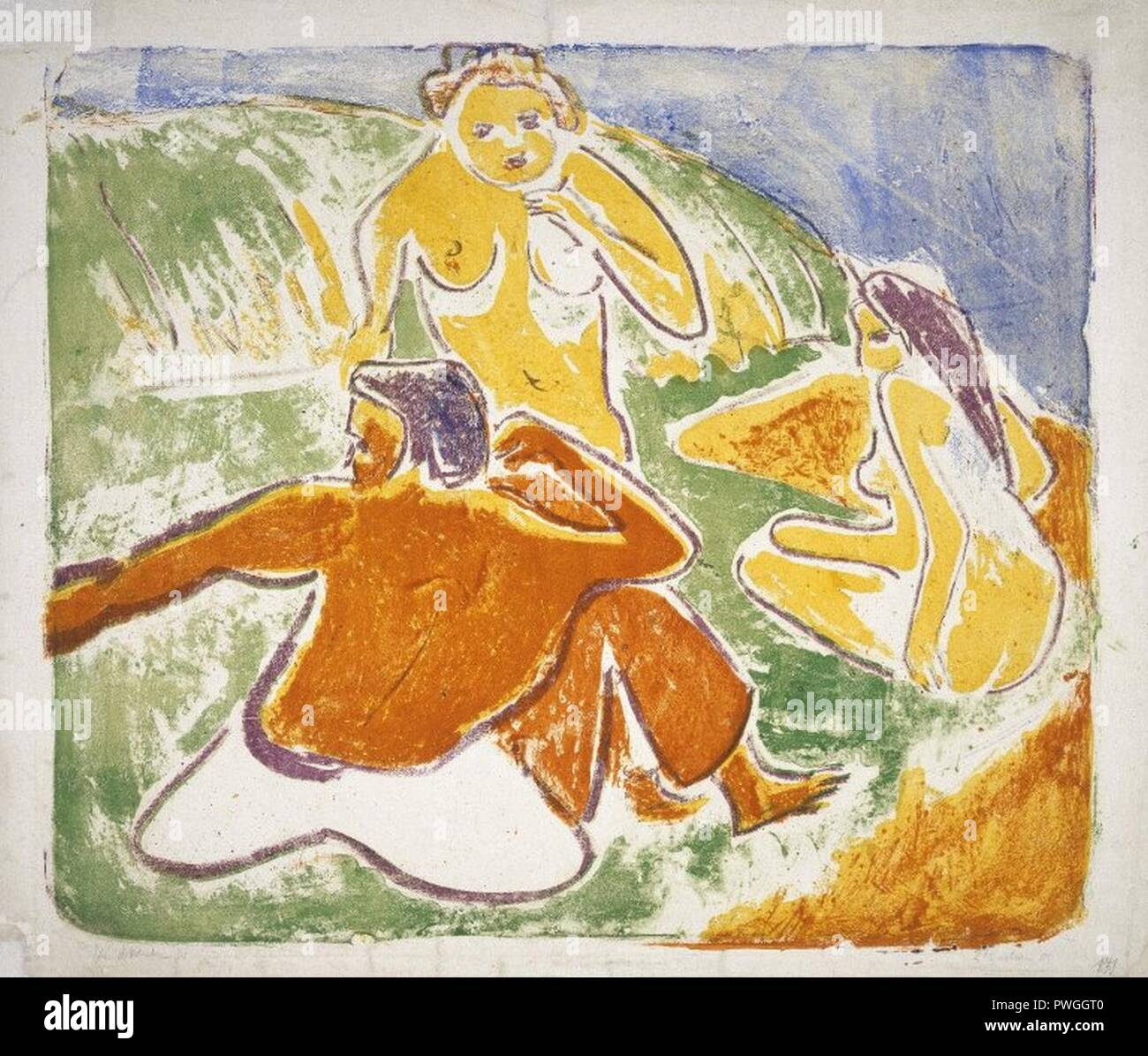 Three Bathers on the Beach - Ernst Ludwig Kirchner. - Stock Image