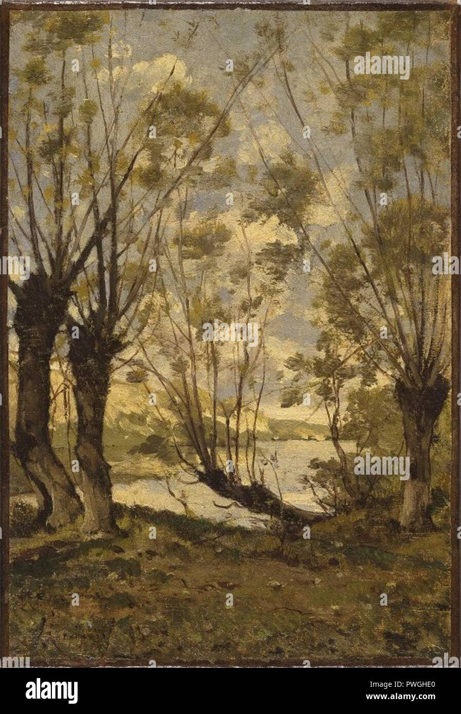 Willows on the Banks of the Loire - Henri-Joseph Harpignies - overall. - Stock Image