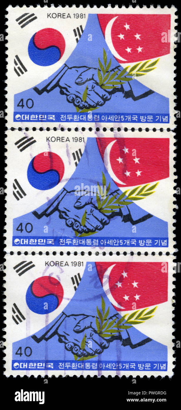 Postmarked stamps from South Korea in the President's visit to ASEAN countries series issued in 1981 - Stock Image