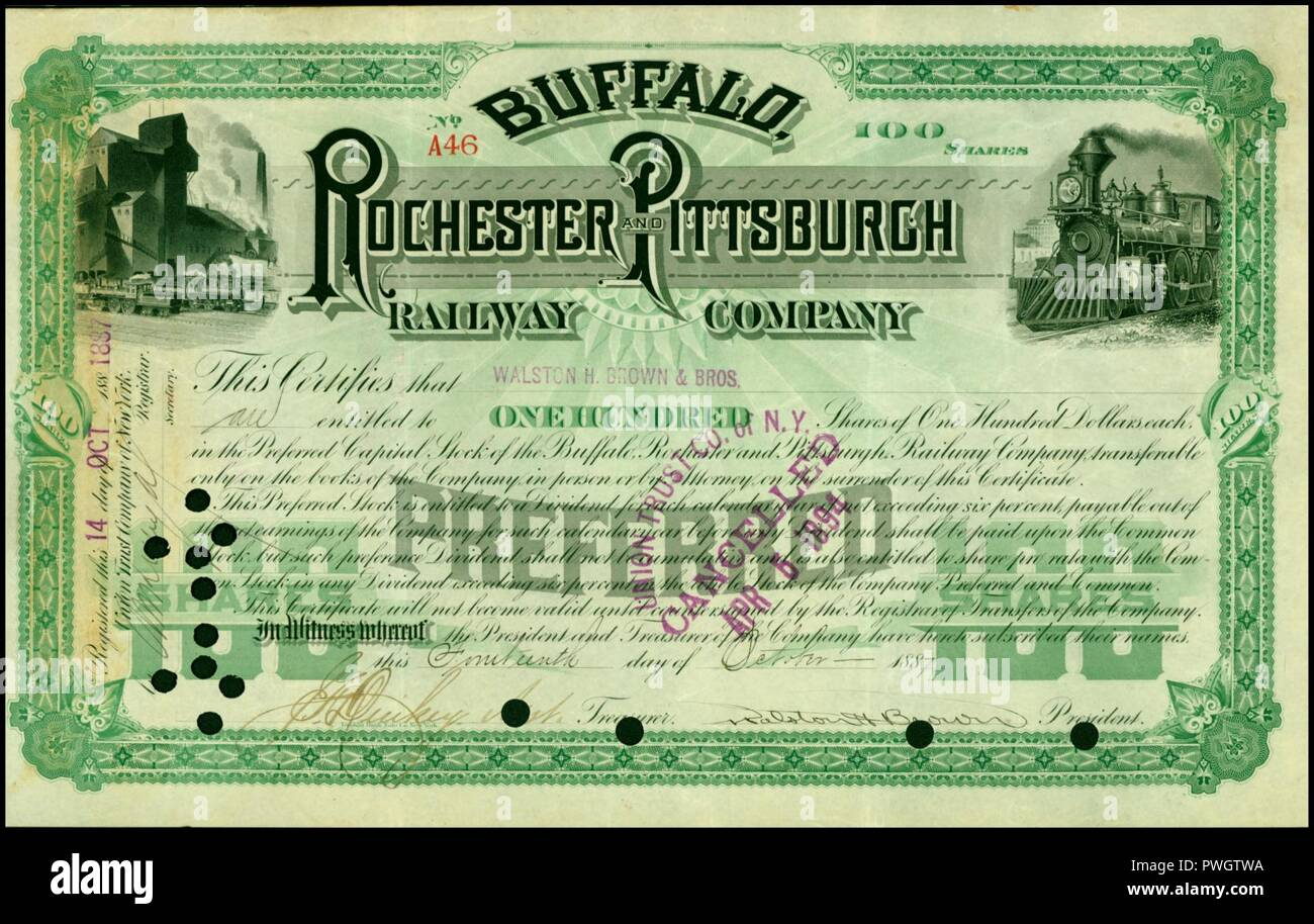 Buffalo, Rochester and Pittsburgh RW 1887. Stock Photo
