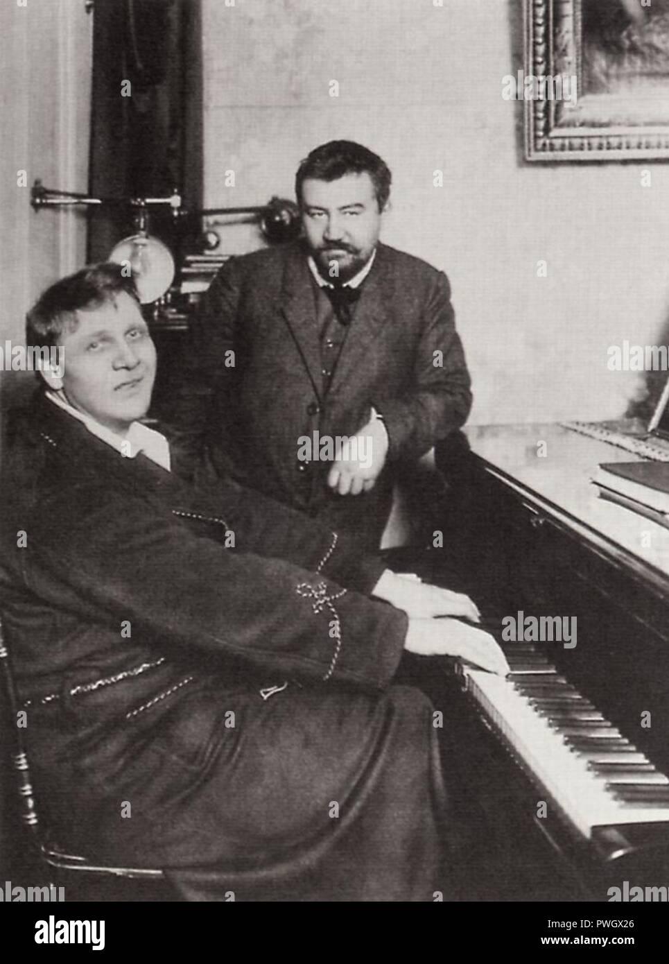 Bulla, Karl Karlovič - Šaljapin am eigenen Klavier, mit Alexander Ivanovič Kuprin, St. Petersburg - Stock Image