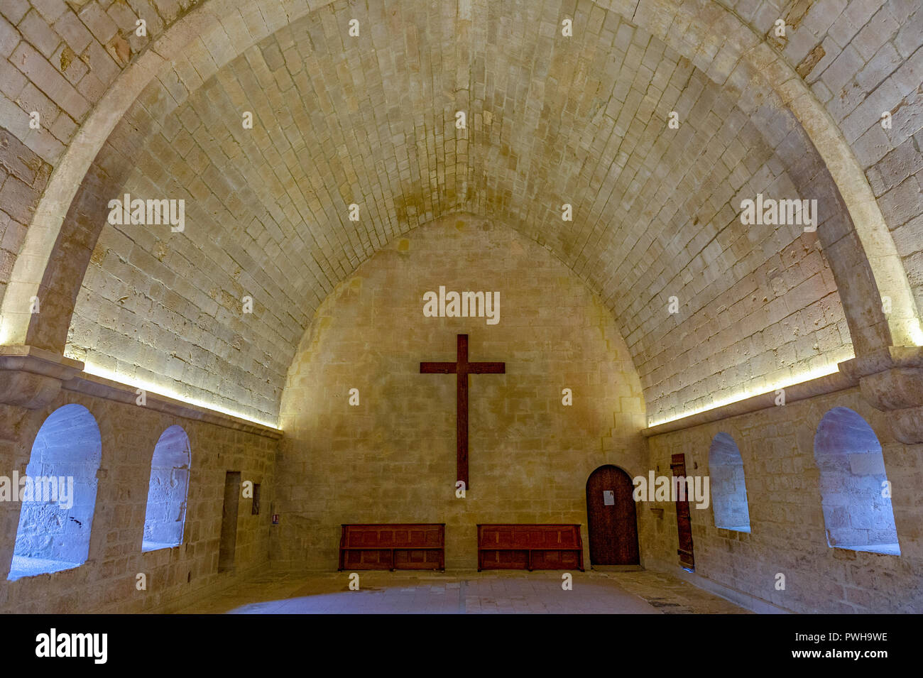 France. Vaucluse (84). Common Gordes. Regional Natural Park of Luberon. Abbey Notre Dame de Senanque dating from the twelfth century. The dormitory - Stock Image