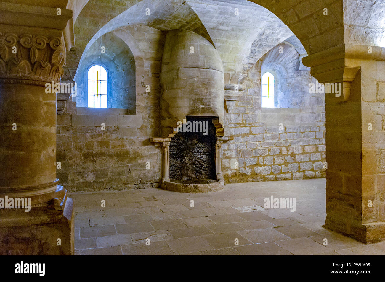 France. Vaucluse (84). Common Gordes, Regional Natural Park of Luberon, Abbey Notre Dame de Senanque dating from the twelfth century. The heater - Stock Image