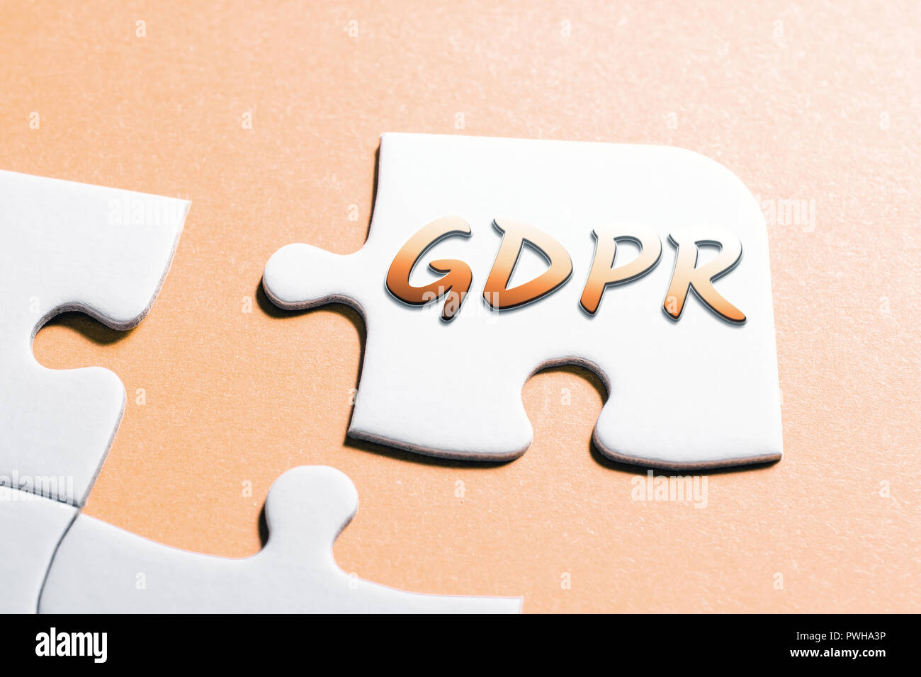 The Word GDPR In Missing Piece Jigsaw Puzzle - Stock Image