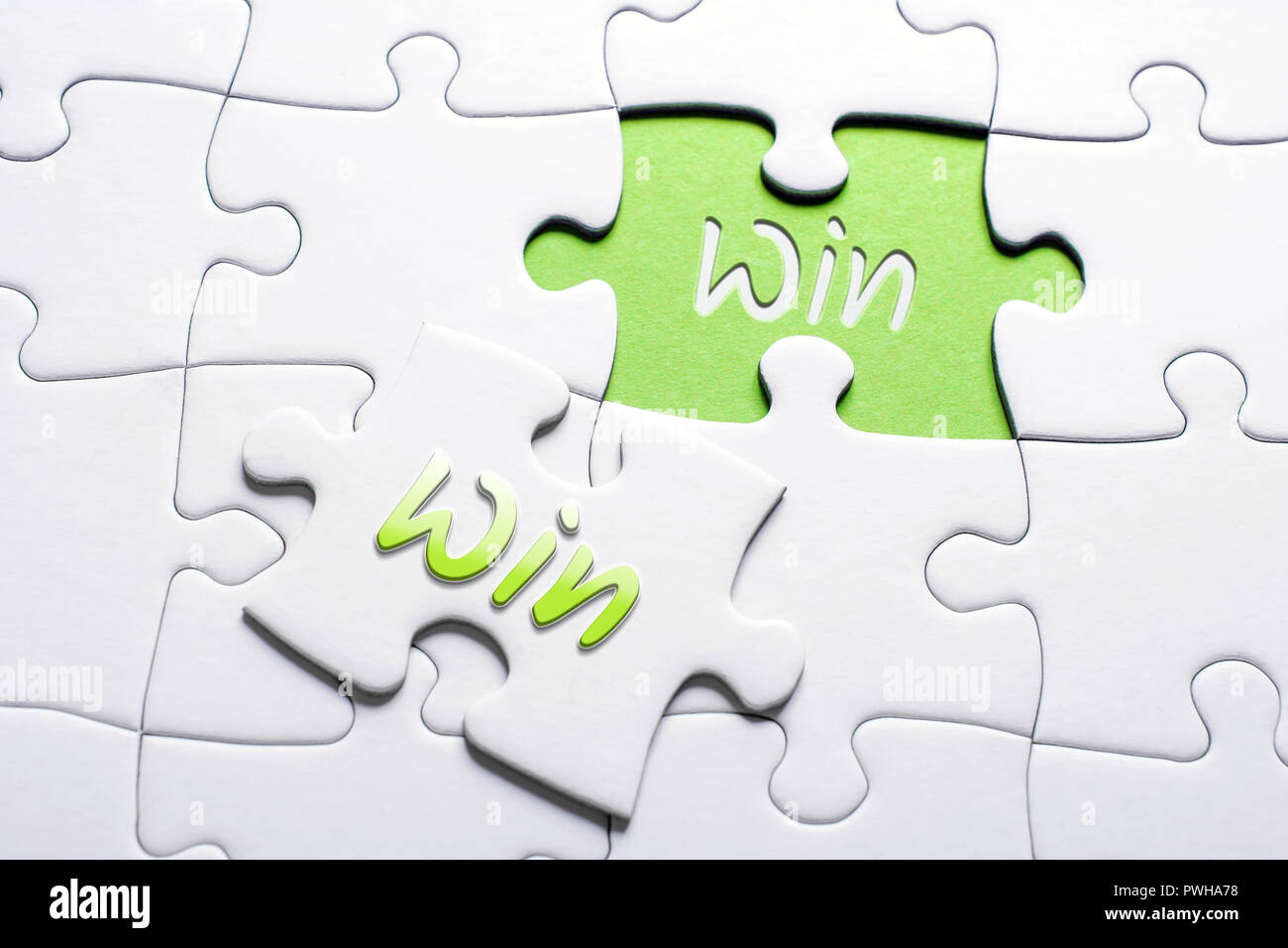 The Words Win And Win In Missing Piece Jigsaw Puzzle, Win-Win Situation Concept - Stock Image
