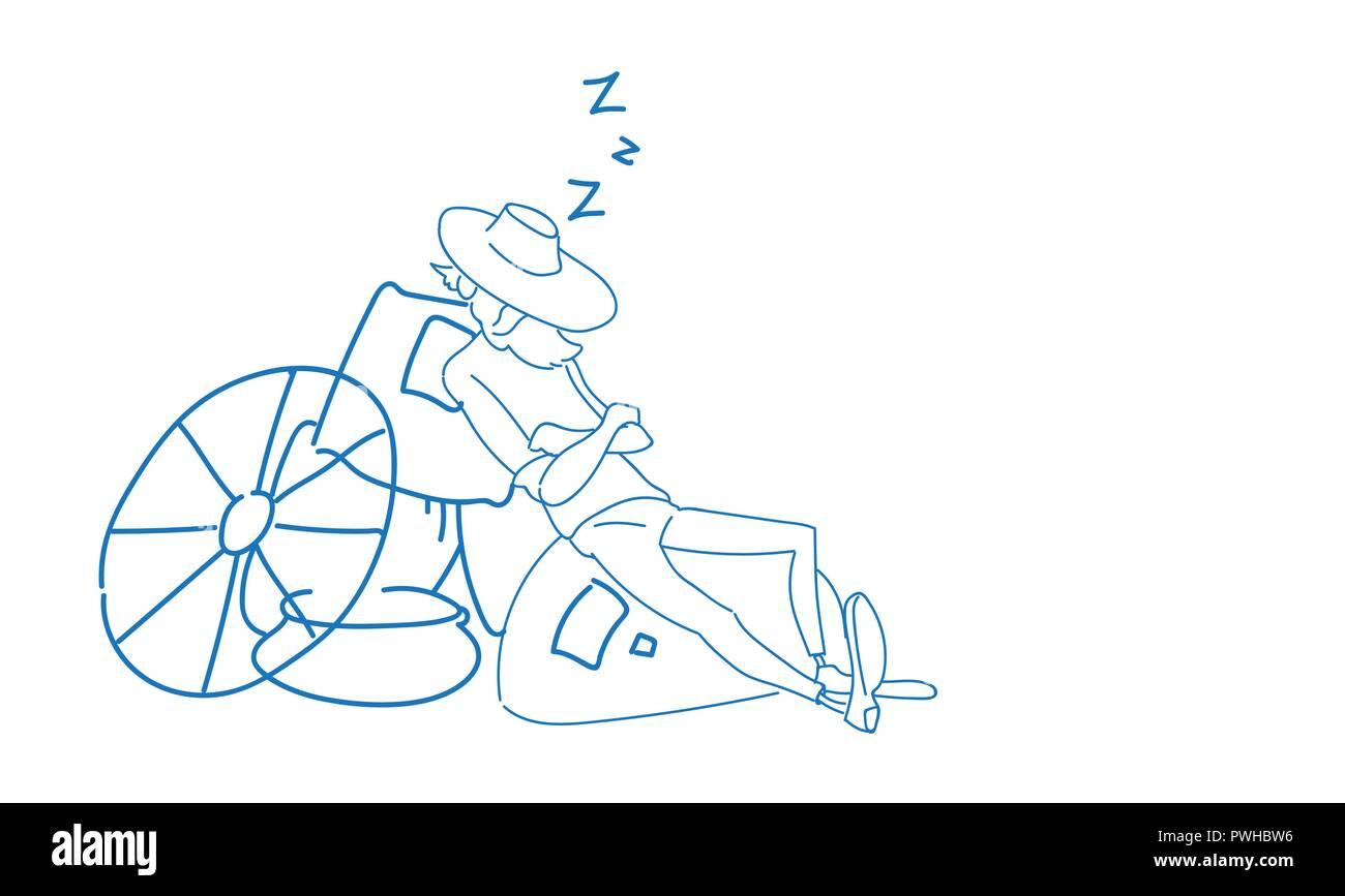 Farmer countryman sleeping wheat sacks relax fatigue concept sketch doodle horizontal - Stock Vector