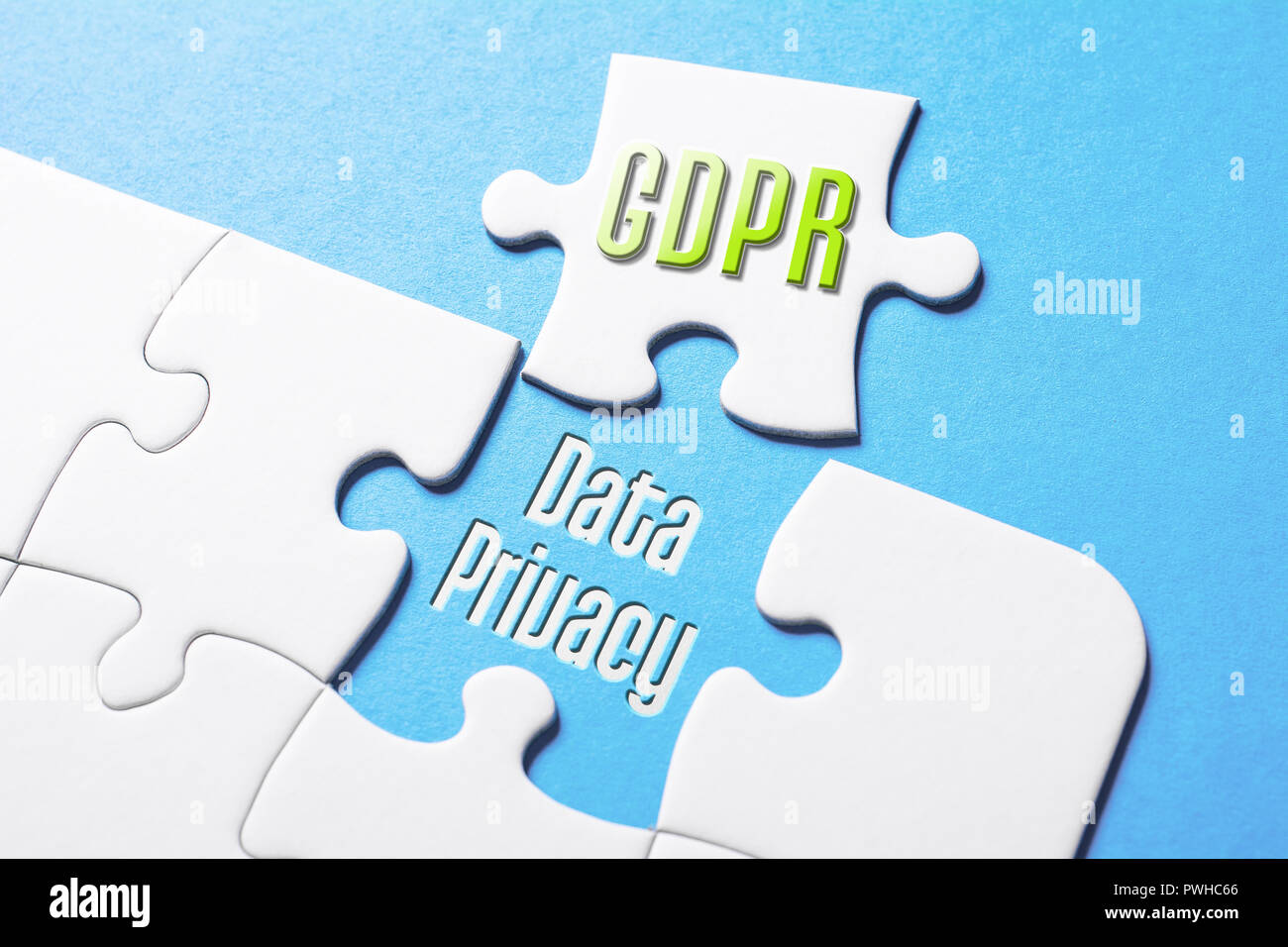 The Words GDPR And Data Privacy In Missing Piece Jigsaw Puzzle - Stock Image