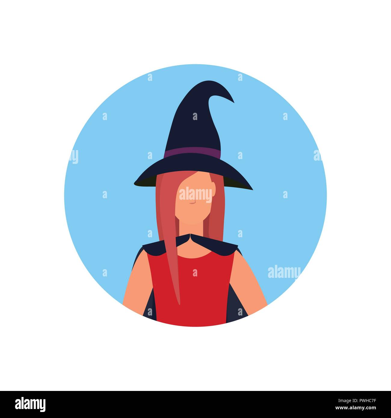 Halloween Cartoon Witch Face.Woman Wearing Magic Witch Costume Face Avatar Happy Halloween