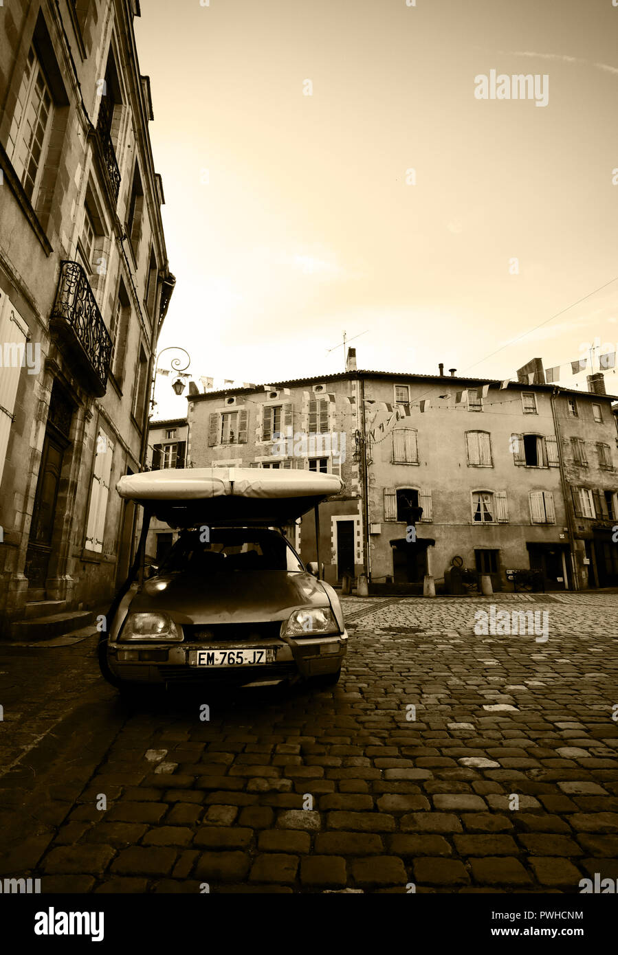 A sultry Sunday evening, Confolens, The Charente, France - Stock Image