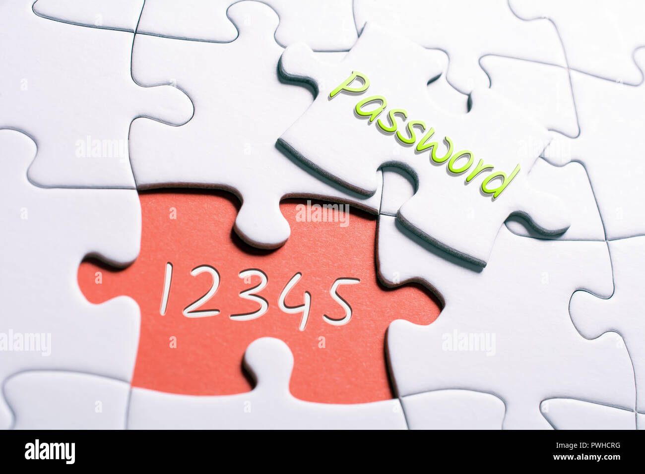 The Word Password And The Numbers 12345 In Missing Piece Jigsaw Puzzle - Insecure Password Concept - Stock Image