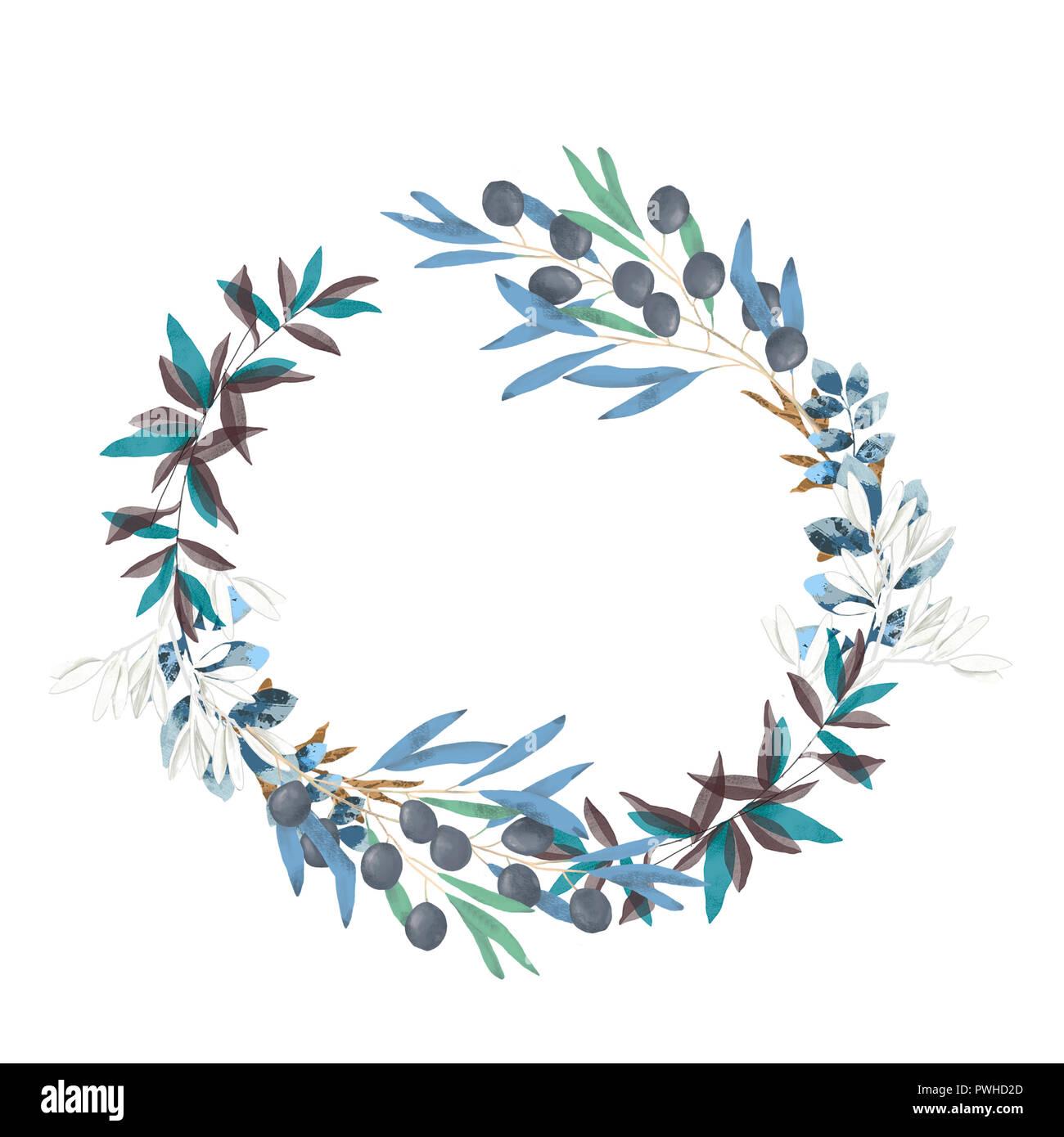 Olive Floral Illustration Olive Branch Frame Wreath For Wedding