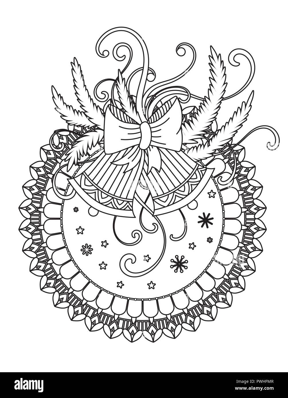 christmas mandala coloring page adult coloring book holiday decor bells balls and ribbons hand drawn vector illustration