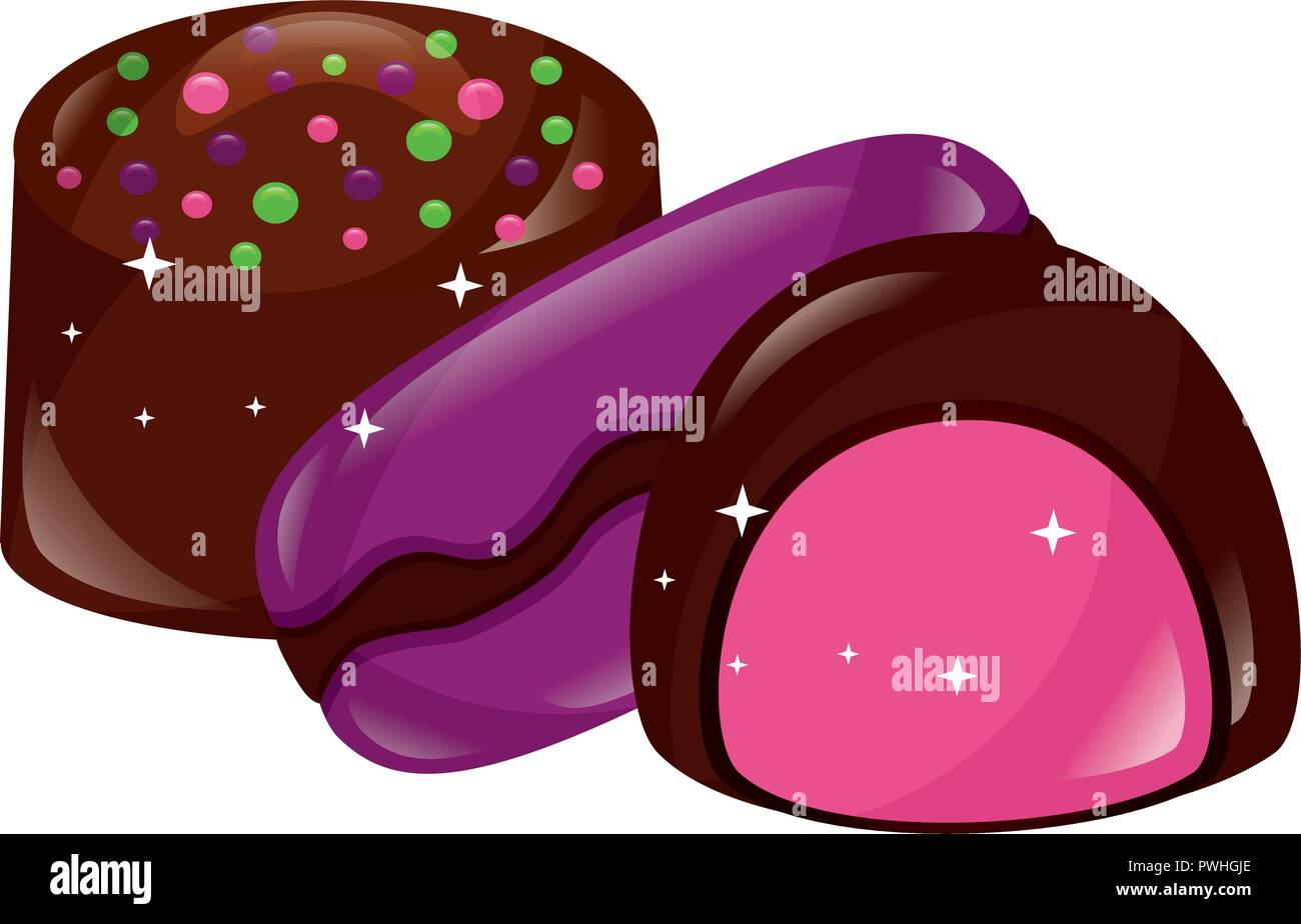 sweet chocolate bonbon macarons stuffed candy vector illustration - Stock Vector