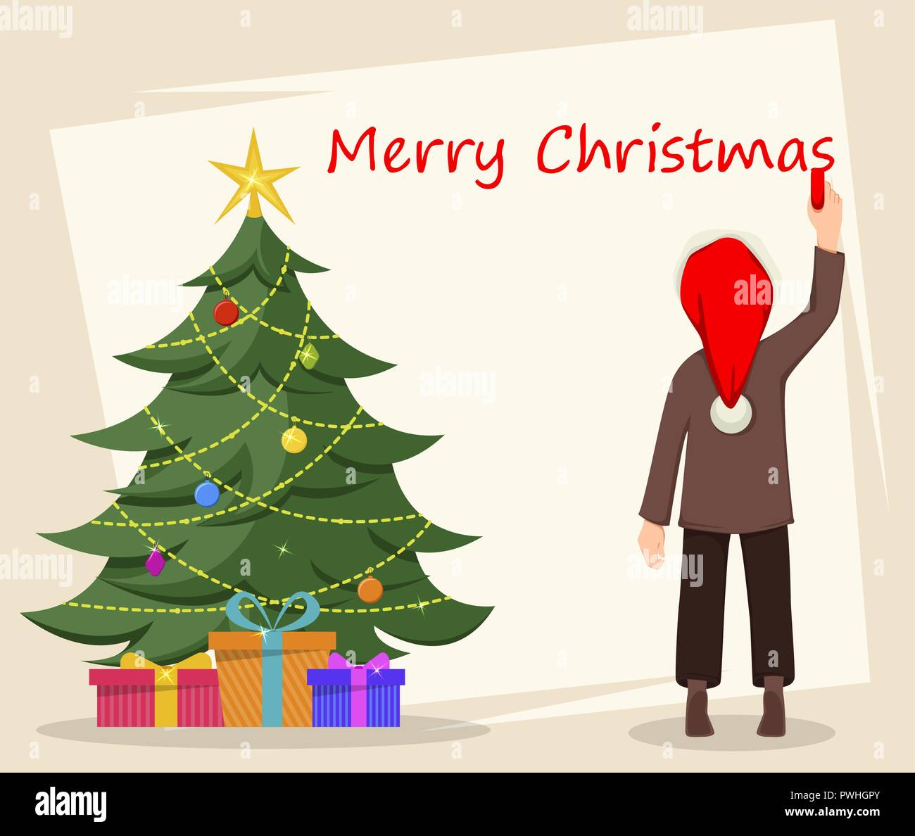 Merry Christmas Greeting Card With Kid Writing Greetings On The Wall