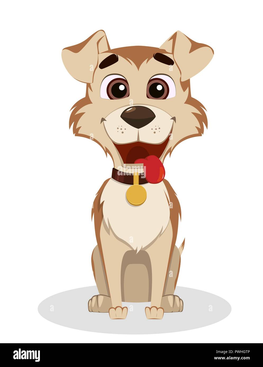 Cute Funny Dog Puppy Cartoon Character Vector Illustration Isolated On White Background Stock Vector Image Art Alamy