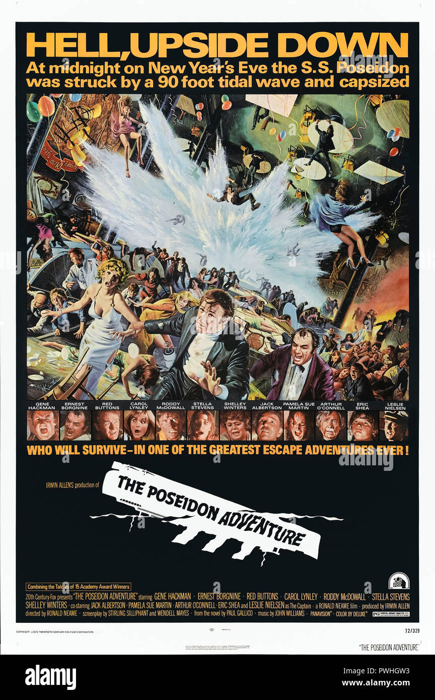 The Poseidon Adventure (1972) directed by Ronald Neame and starring Gene Hackman, Ernest Borgnine, Shelley Winters and Roddy McDowall. An all-star cast try to escape an upturned luxury cruise liner. - Stock Image