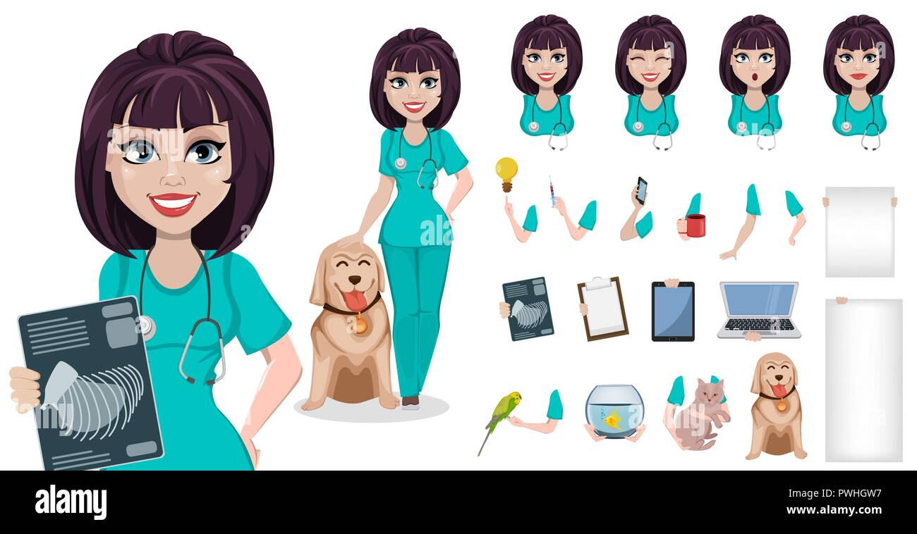 Veterinarian woman, pack of body parts, emotions and things. Build your personal design. Cute cartoon character, professional female vet doctor. Vecto - Stock Vector