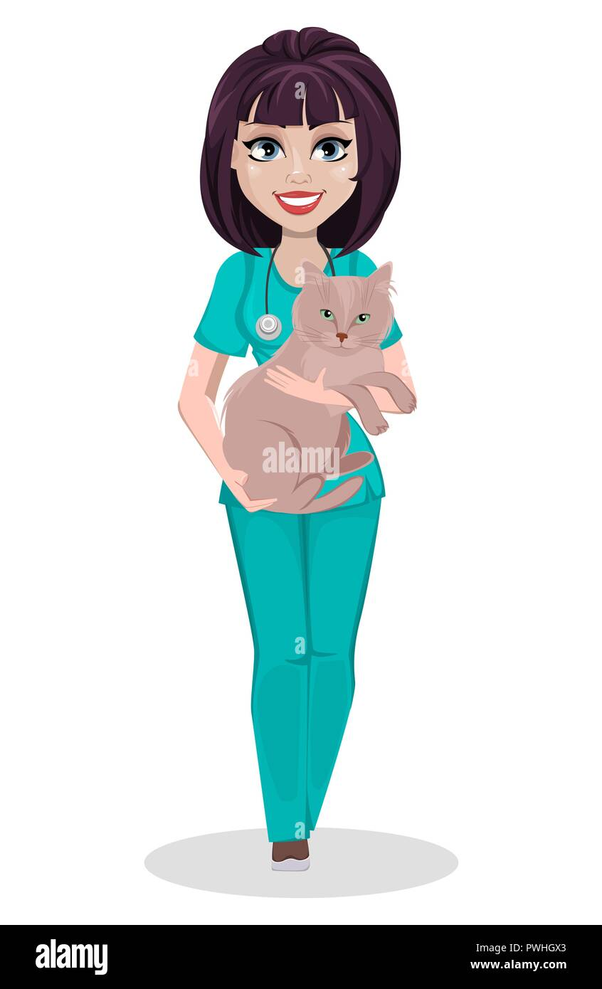 Veterinarian woman. Cute cartoon character, professional female vet doctor holding domestic cat. Vector illustration on white background. - Stock Vector