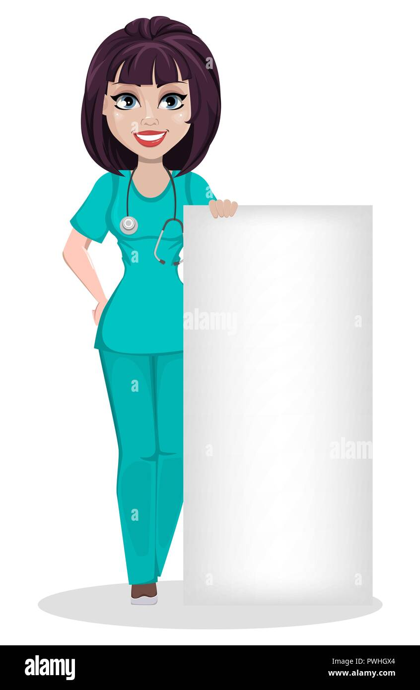 Veterinarian woman. Cute cartoon character, professional female vet doctor standing near big blank placard. Vector illustration on white background. - Stock Vector