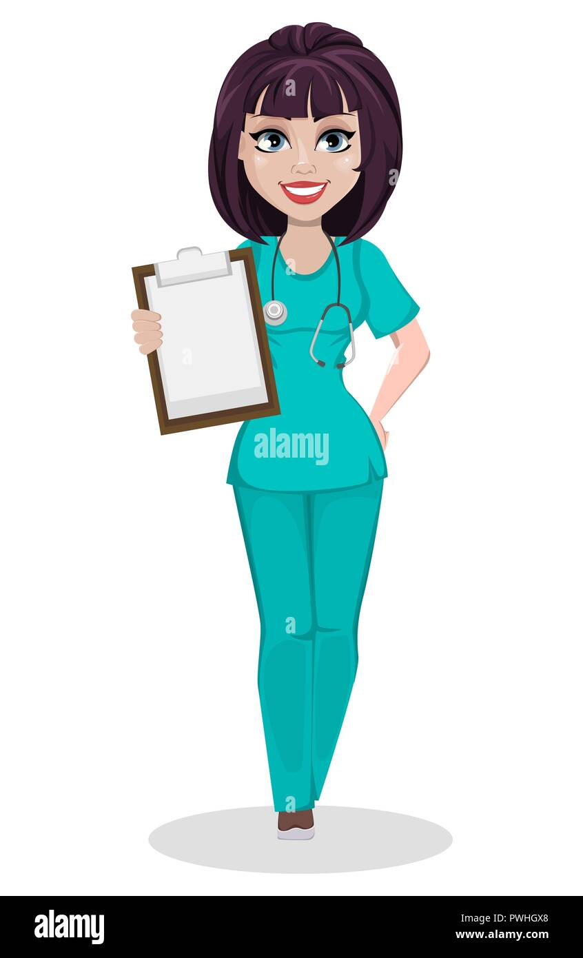 Veterinarian woman. Cute cartoon character, professional female vet doctor holding clipboard. Vector illustration on white background. - Stock Vector