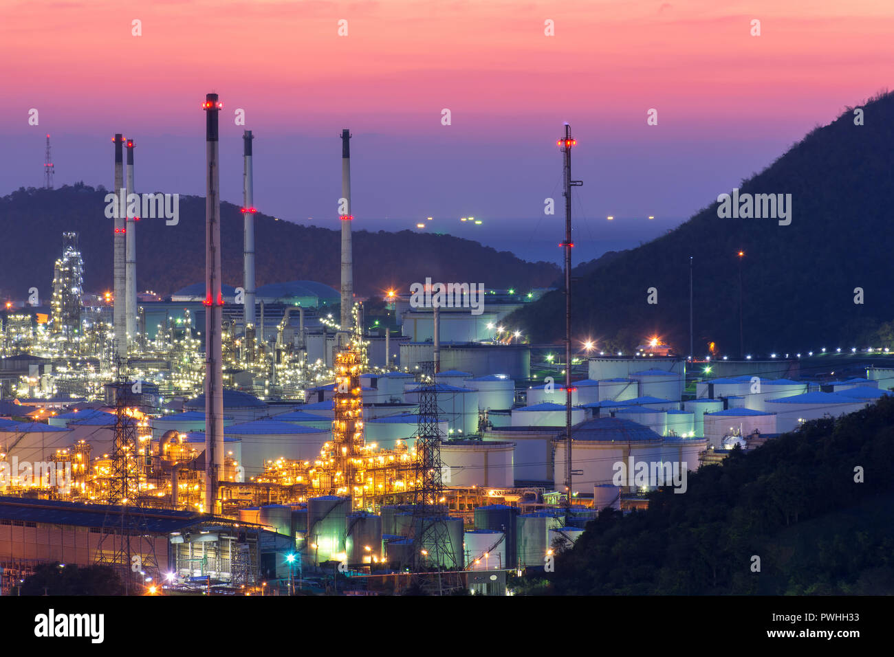 Oil Refinery factory at twilight , petrochemical plant , Petroleum , Chemical Industry Stock Photo