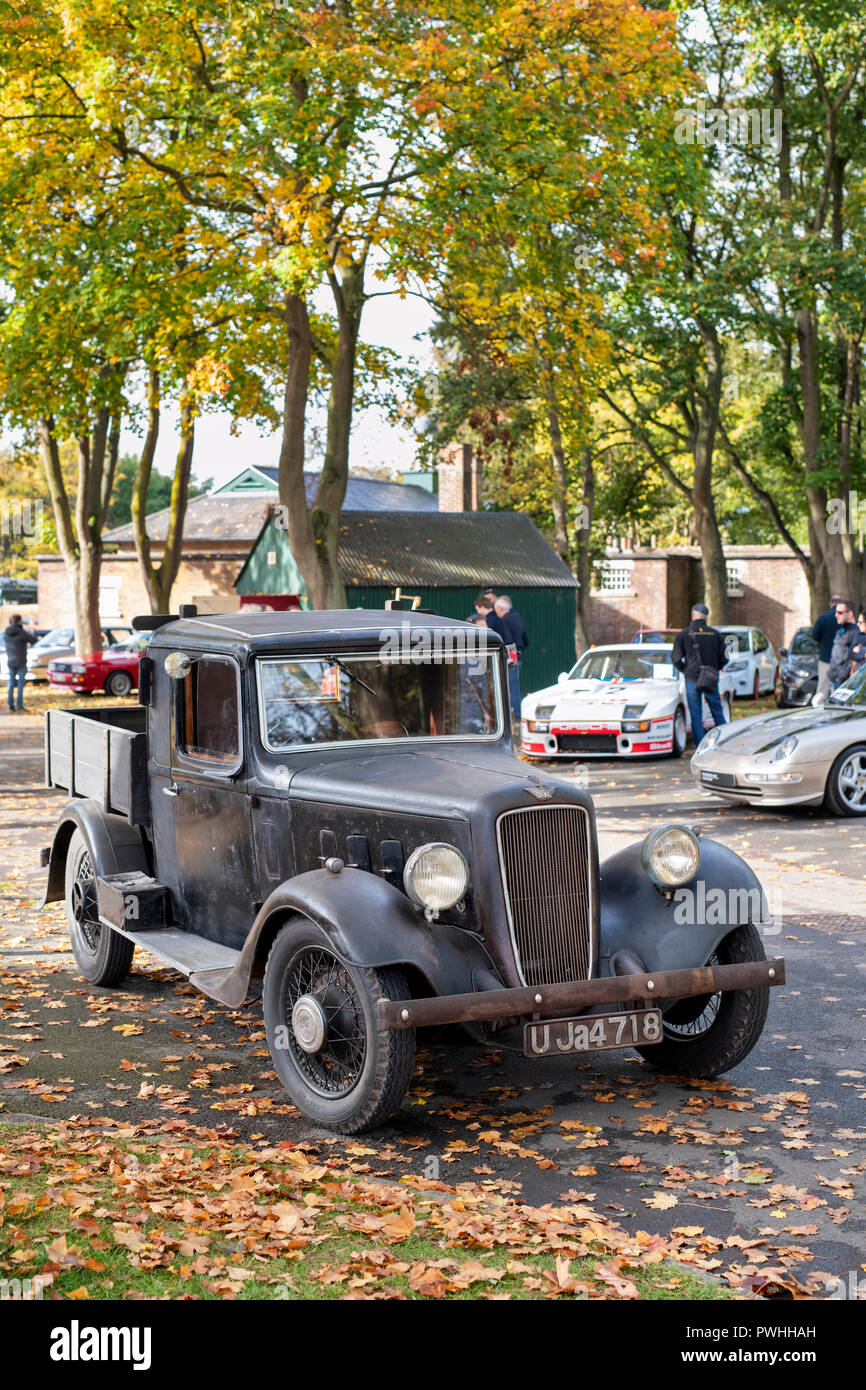 1935 Austin pick up truck at Bicester heritage centre autumn sunday scramble event. Bicester, Oxfordshire, UK - Stock Image