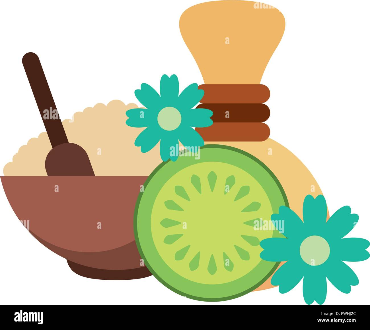 hot compresses face mask fruit flowers spa healthy vector illustration - Stock Image