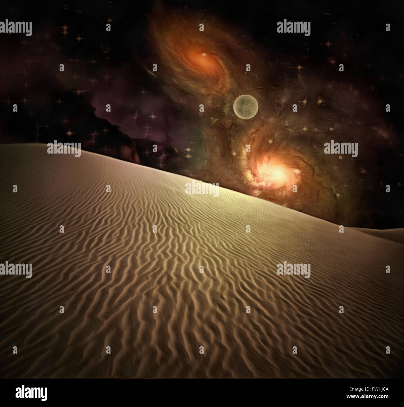 Surreal painting. Sand dune, bright galaxies in the starry sky, moon. Stock Photo