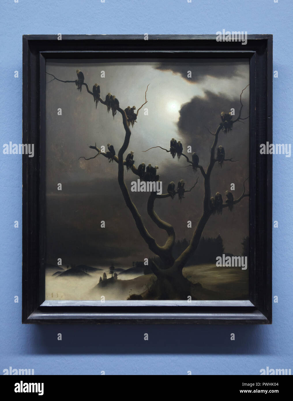 Painting 'Ghosts in the Tree' by Austrian painter Franz Sedlacek (1933) on display in the Albertina Museum in Vienna, Austria. - Stock Image