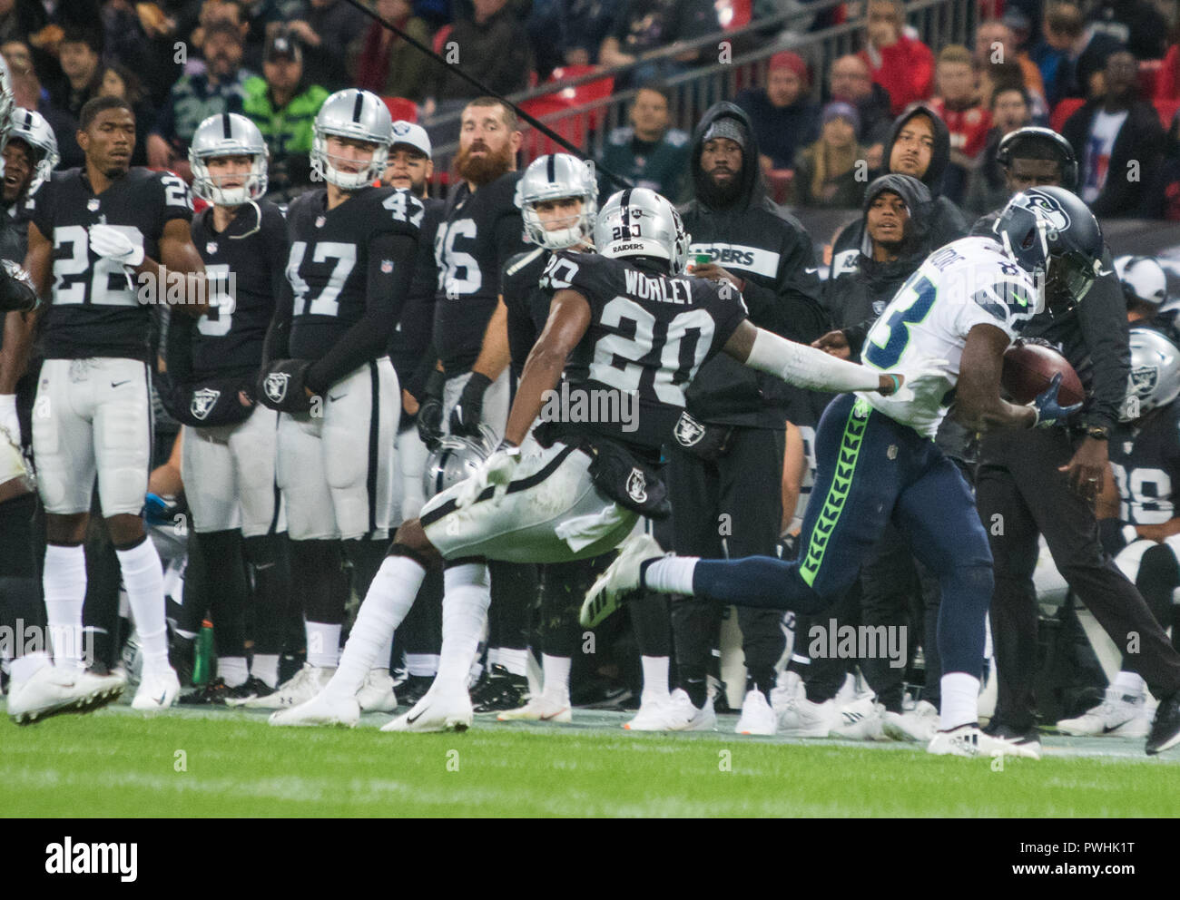 LONDON, ENG - OCTOBER 14: NFL: OCT 14 International Series - Seahawks at Raiders(Photo by Glamourstock - Stock Image