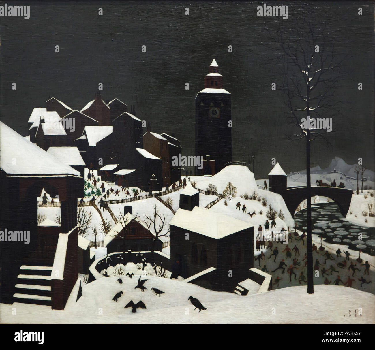 Painting 'Winter Landscape' by Austrian painter Franz Sedlacek (1925) on display in the Albertina Museum in Vienna, Austria. - Stock Image