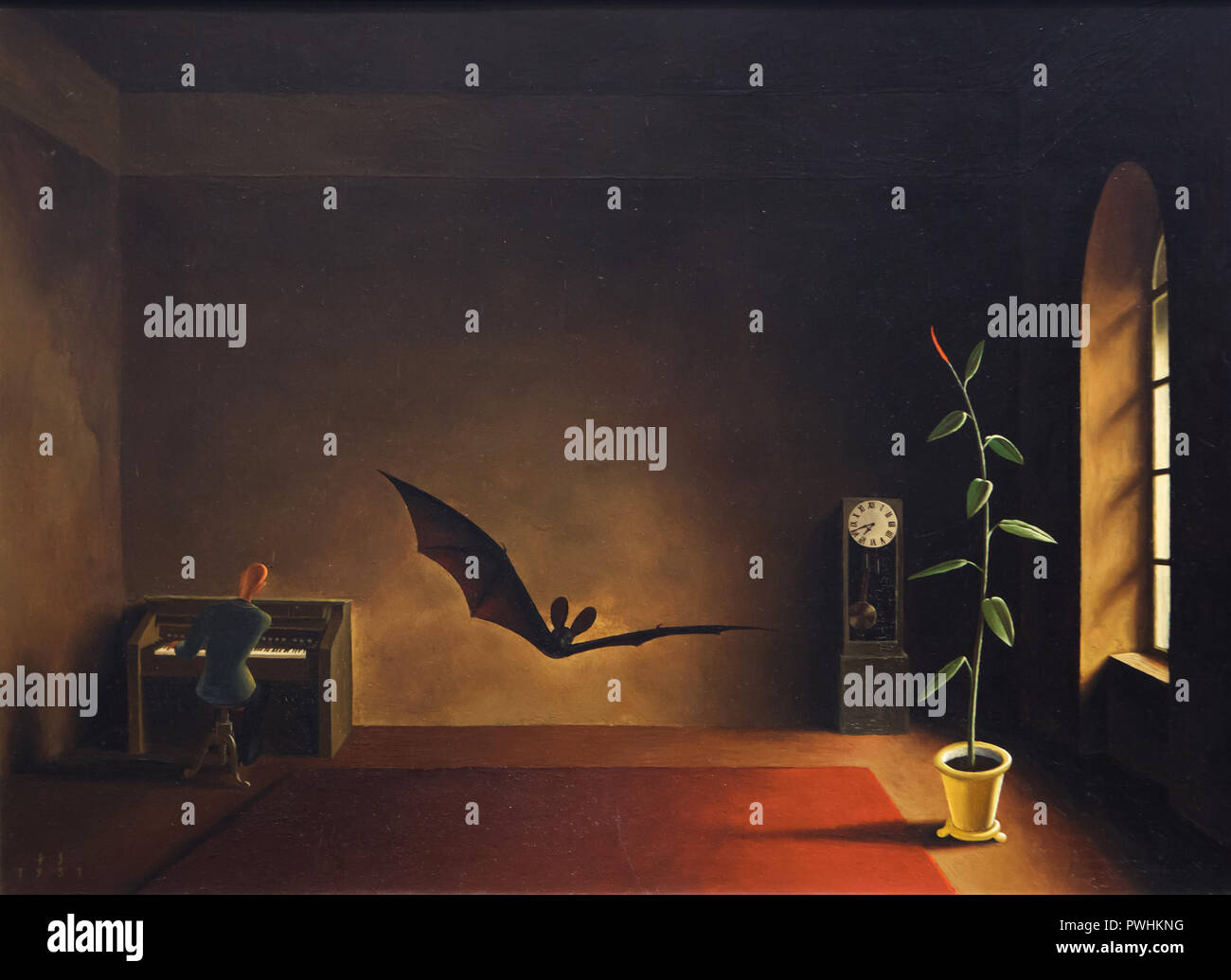 Painting 'Twilight Song' by Austrian painter Franz Sedlacek (1931) on display in the Albertina Museum in Vienna, Austria. - Stock Image