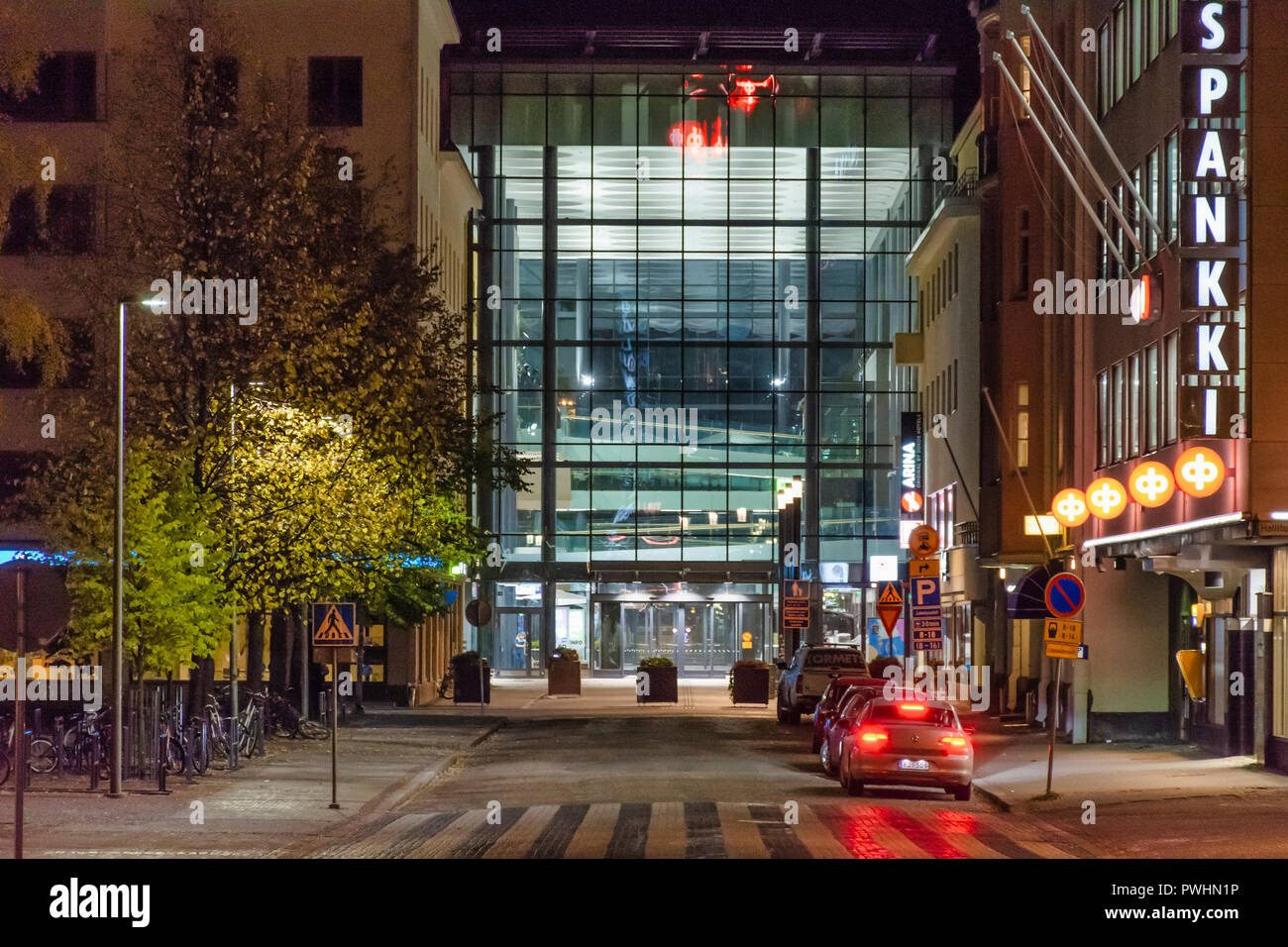 Valkea shopping mall at night in Oulu Finland Stock Photo