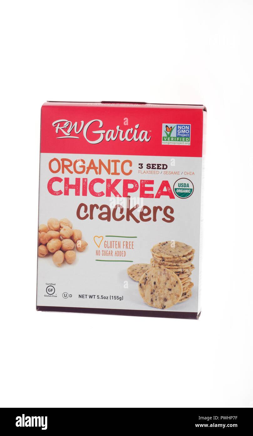 RW Garcia Organic Non-GMO, Gluten Free Chickpea crackers - Stock Image