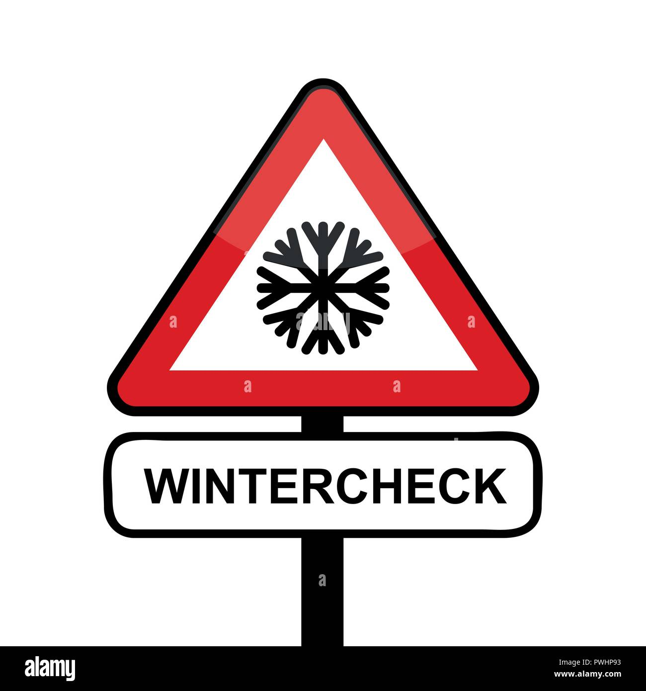 triangle road sign with snowflake icon winter check typography vector illustration - Stock Image