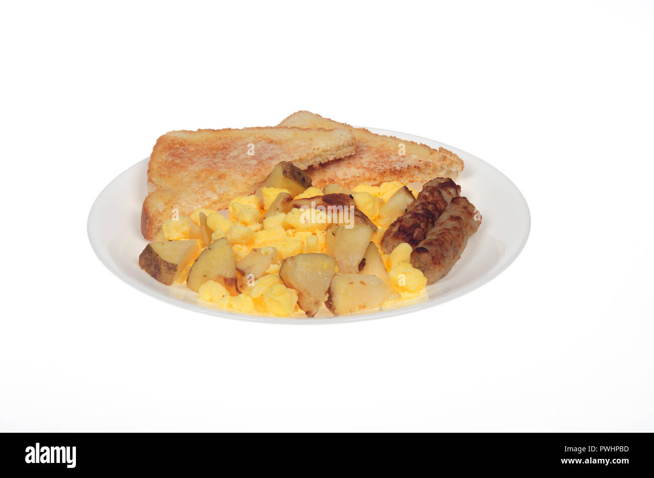 Scrambled eggs, oven roasted potatoes, sausage links and buttered white toast on white plate - Stock Image
