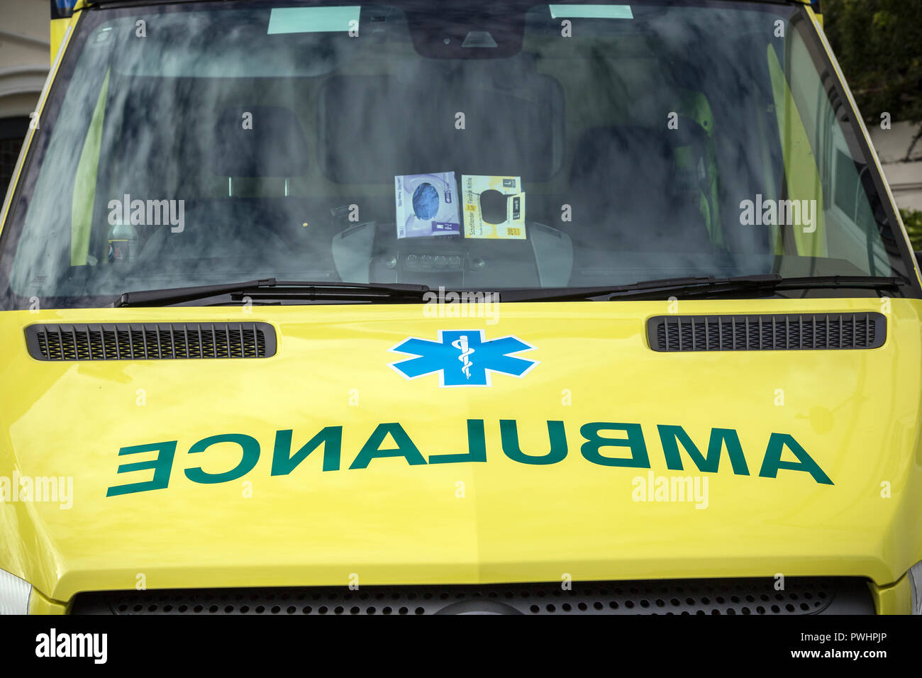 Ambulance a vehicle equipped for taking sick or injured people ,south devon ambulance service,science or practice of medicine,technological, NHS, - Stock Image