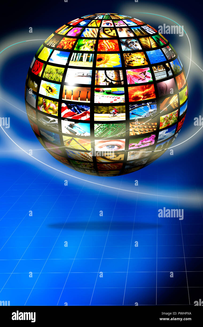 sphere with multiple screens, digital television concept - Stock Image