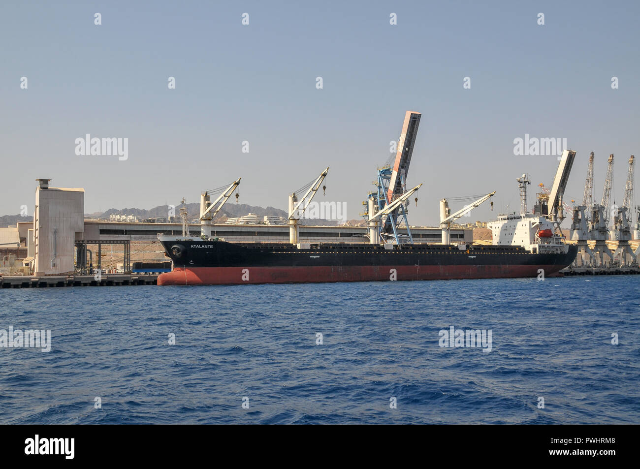Ships at the Port of Eilat in the Red Sea, Israel - Stock Image