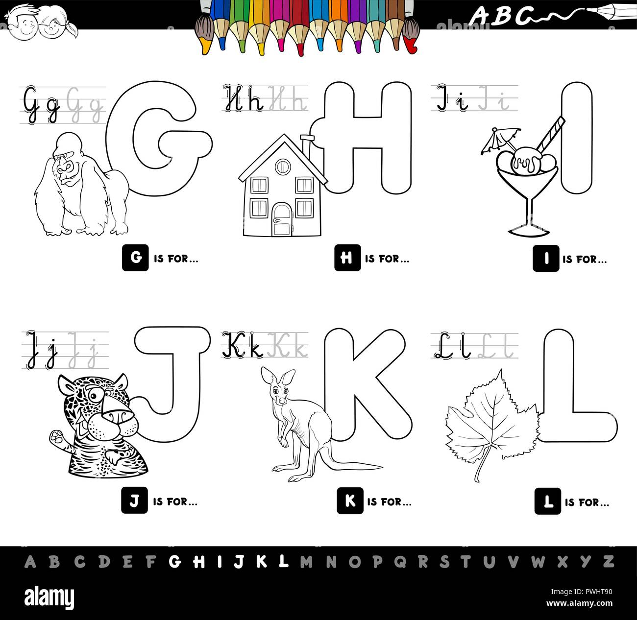 Cream Jaguar Stock Photos Images Alamy Pwht Wiring Diagram Black And White Cartoon Illustration Of Capital Letters Alphabet Educational Set For Reading Writing Learning