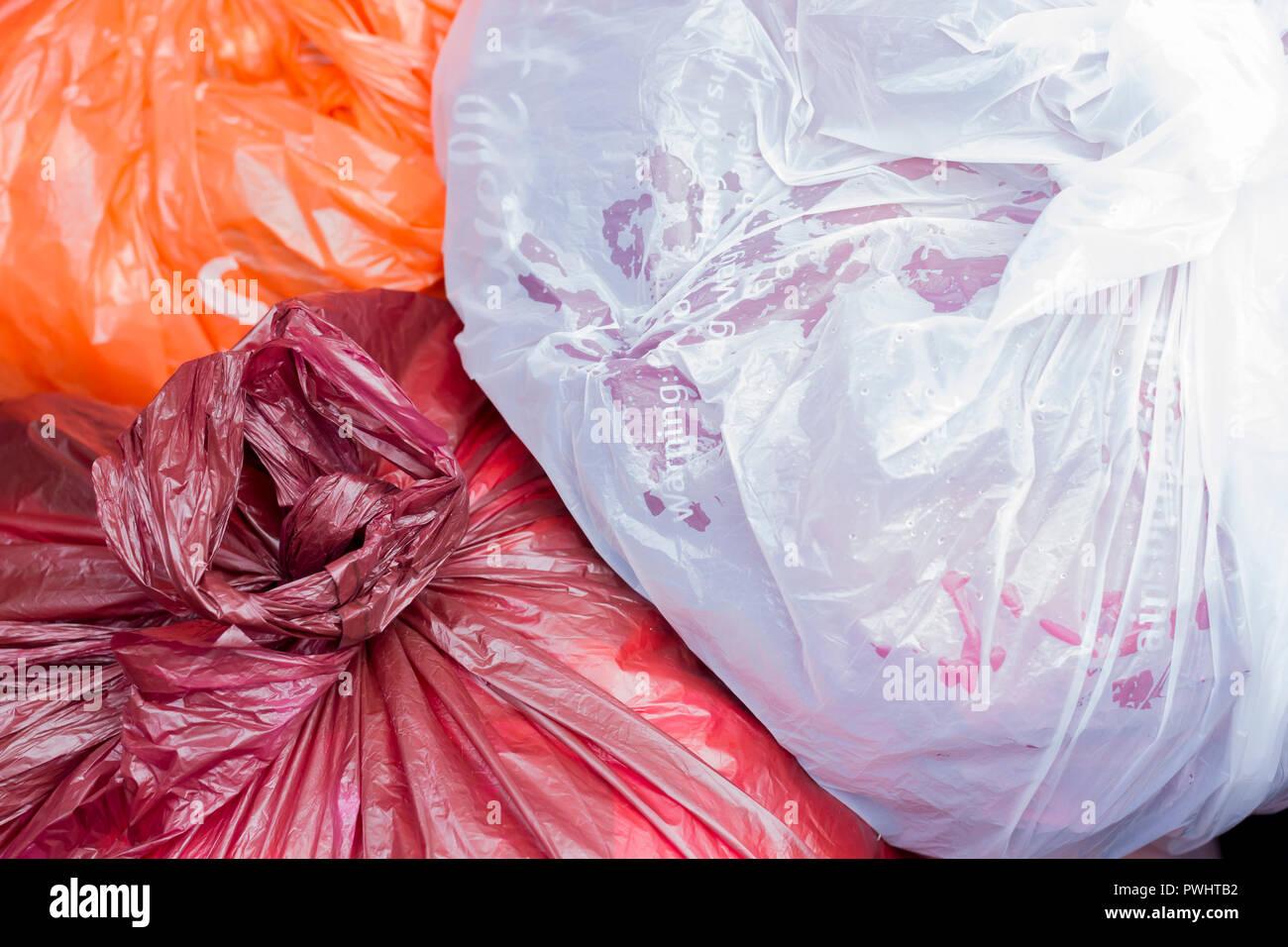 Rubbish, trash bags closeup, UK - Stock Image