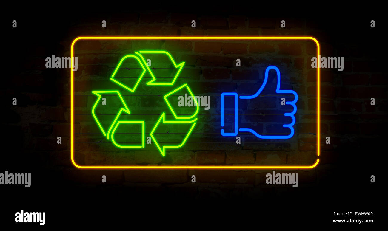 Recycling symbol in neon light stylizing illustration