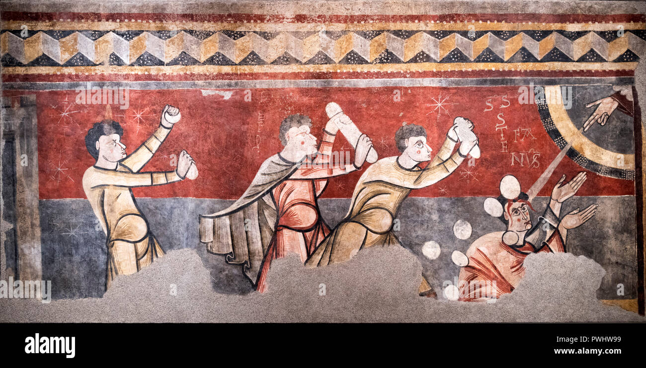 The Stoning of St Steven, a medieval mural from the church of Sant Joan de Boí, dating from the 12th century AD - Stock Image