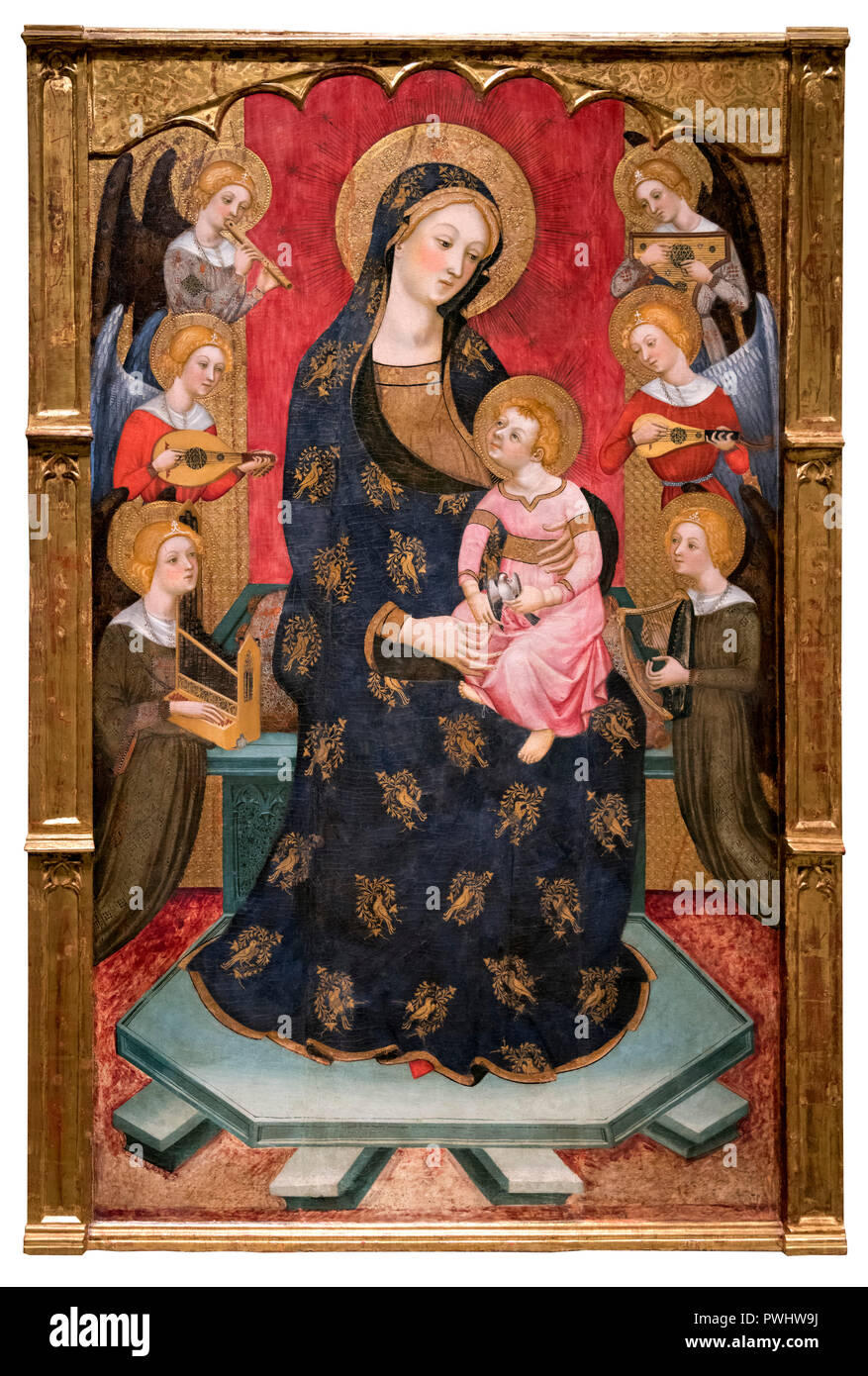 The Virgin of the Angels and Saints by Pere Serra, egg tempera and gilt on wood, c.1385 - Stock Image