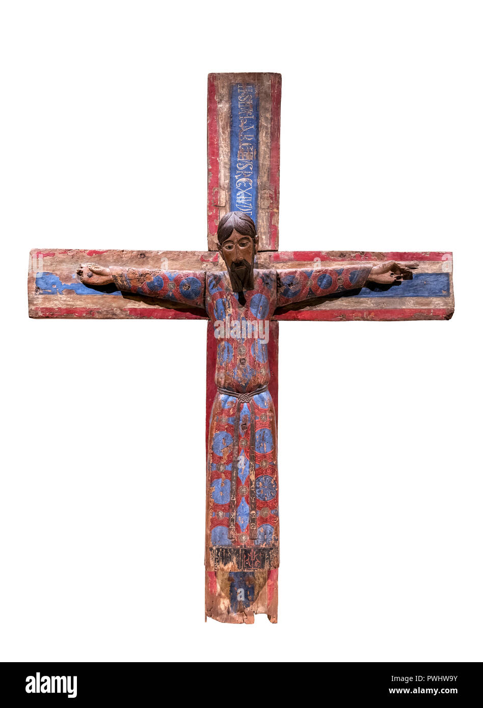 The Majestat Batlló (the Batllo Majesty), a 12th century crucifix dating from the 12th century AD, polychrome tempera on wood - Stock Image