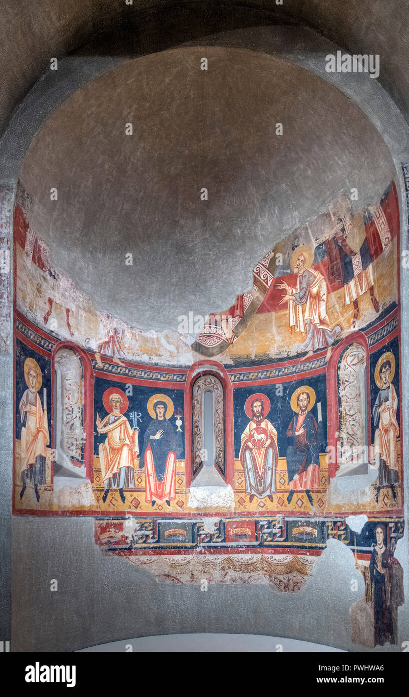Fresco from the Apse of Burgal, formerly in the church Sant Pere del Burgal, dating from the end of the 11th century or beginning of the 12th century AD, transferred to canvas. - Stock Image