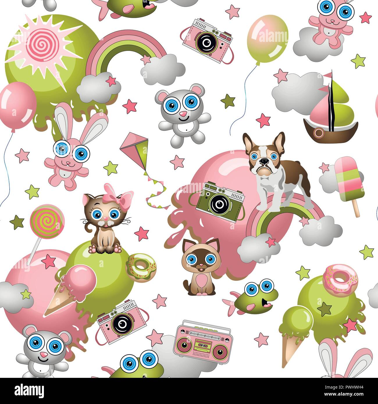 Seamless pattern in the cartoon style with toys, pets, sweets, ice cream, balloons. Child concept wallpaper texture.