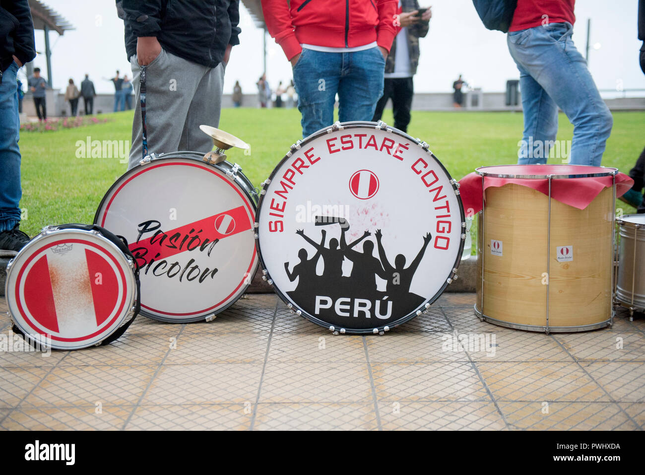 Fanaticism in Peru Peru vs. Chile Soccer. - Stock Image