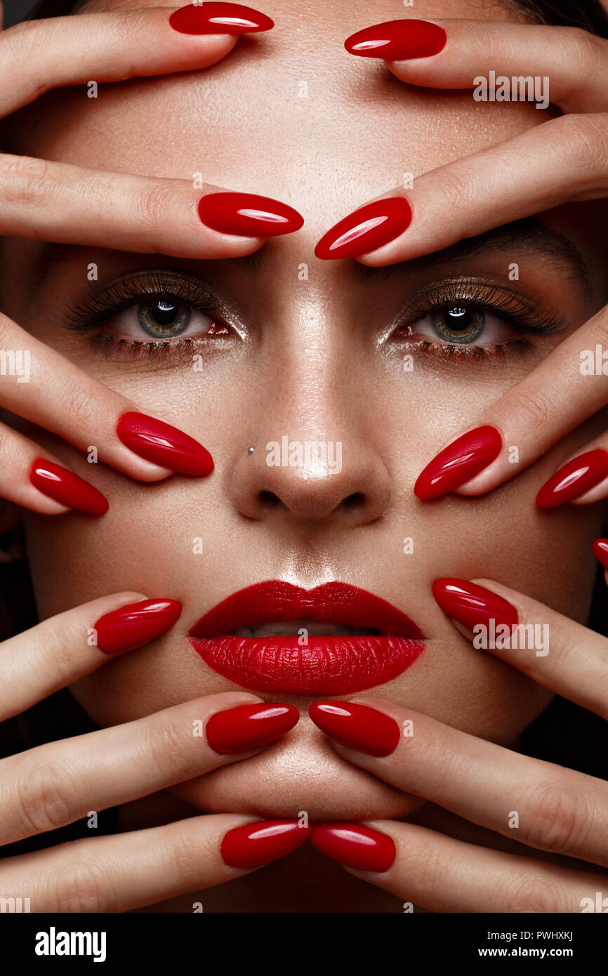 Red Nails Stock Photos & Red Nails Stock Images - Alamy